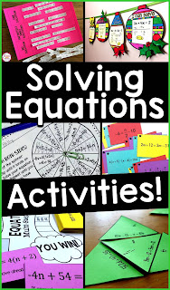 solving equations coloring activities math pennants task cards spin to win games puzzles sum em cut and paste