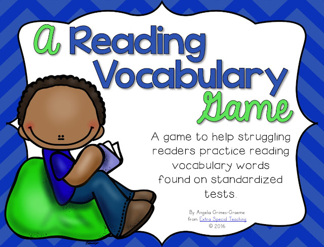 Struggling readers often have a difficult time with reading vocabulary such as words like define, meaning, and understand. This freebie game helps students practice reading words they might see on standardized tests.