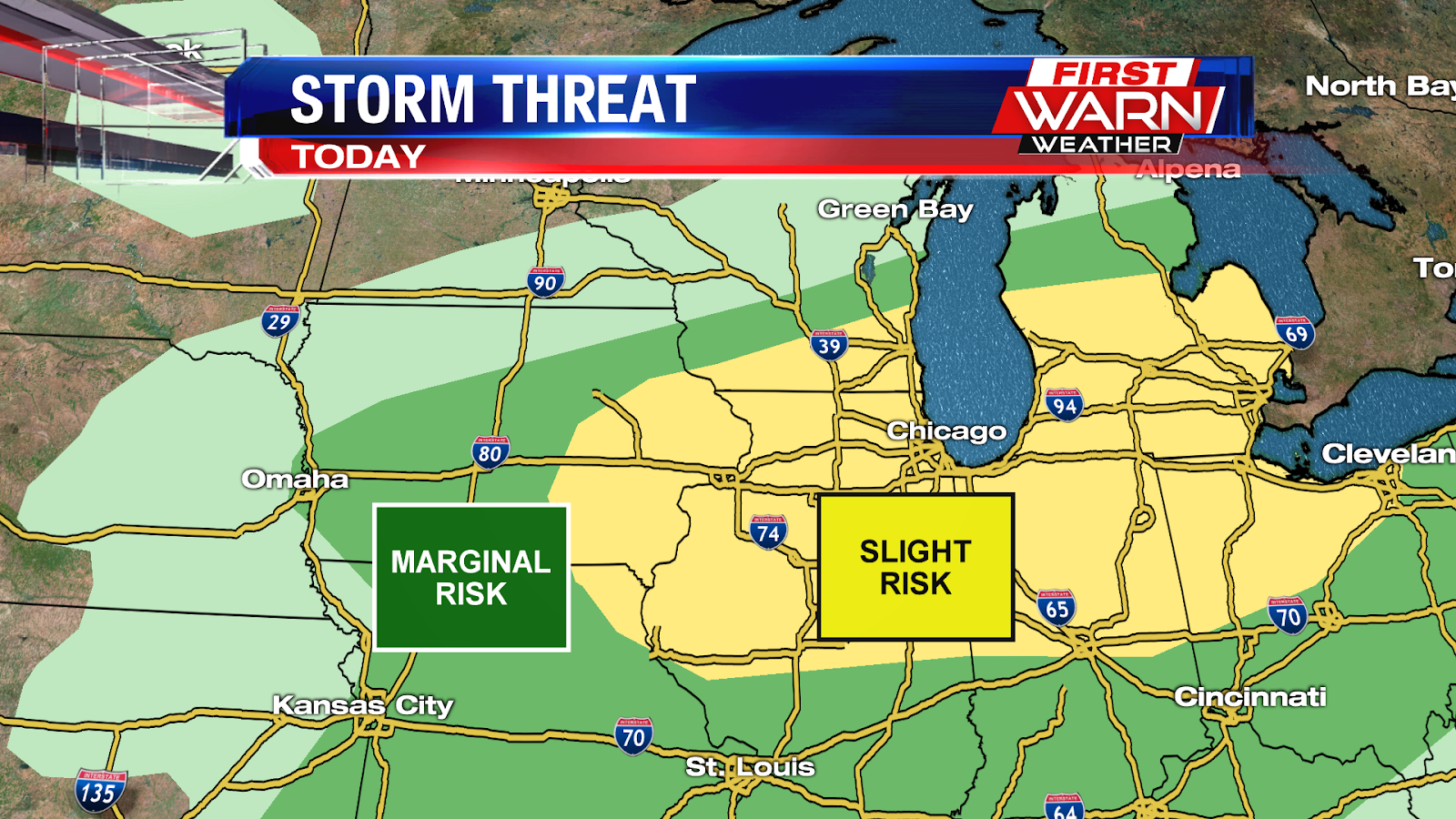 as a result the national weather service s severe weather prediction center has placed the area under a slight risk for storms