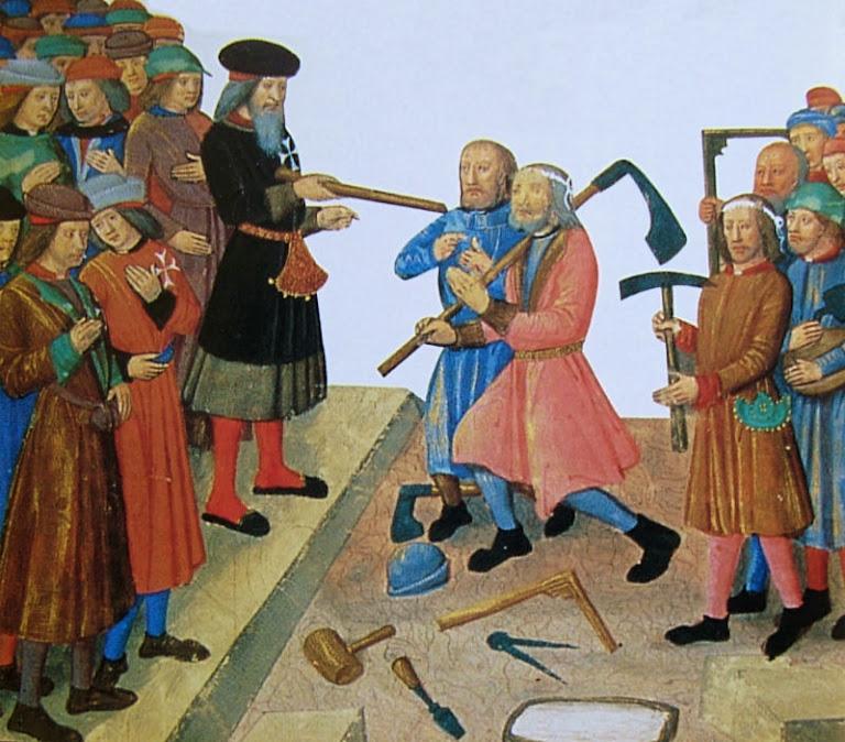 Mestre de obras instrui os pedreiros que estão com seus instrumentos