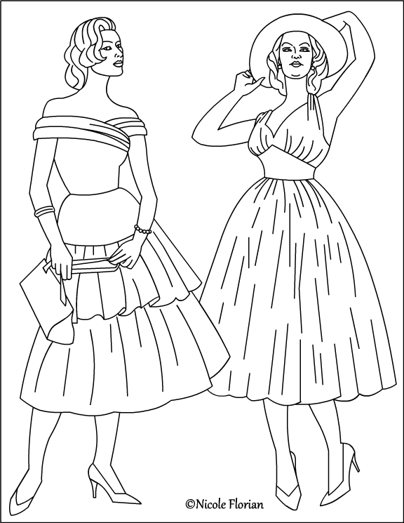 nicole's free coloring pages vintage fashion * coloring pages
