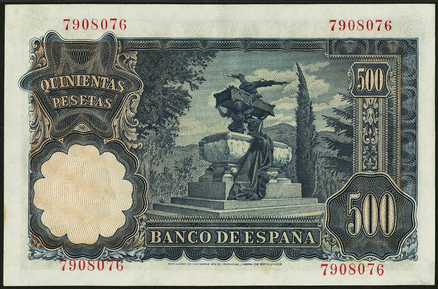 Spain Banknotes 500 Pesetas banknote 1951 Julián Gayarre Mausoleum in bronze sculpted by Mariano Benlliure