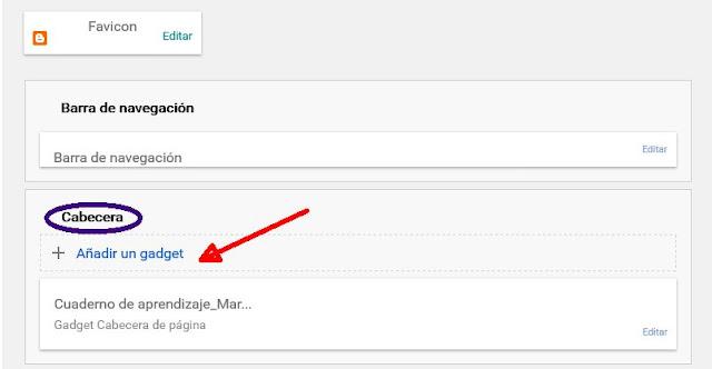 Añadir gadget encima de la cabecera del blog