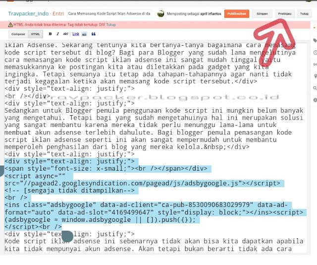 Cara memasang kode script ikaln adsense di dalam postingan, cara memasang iklan di blog, cara menempatkan iklan di blog