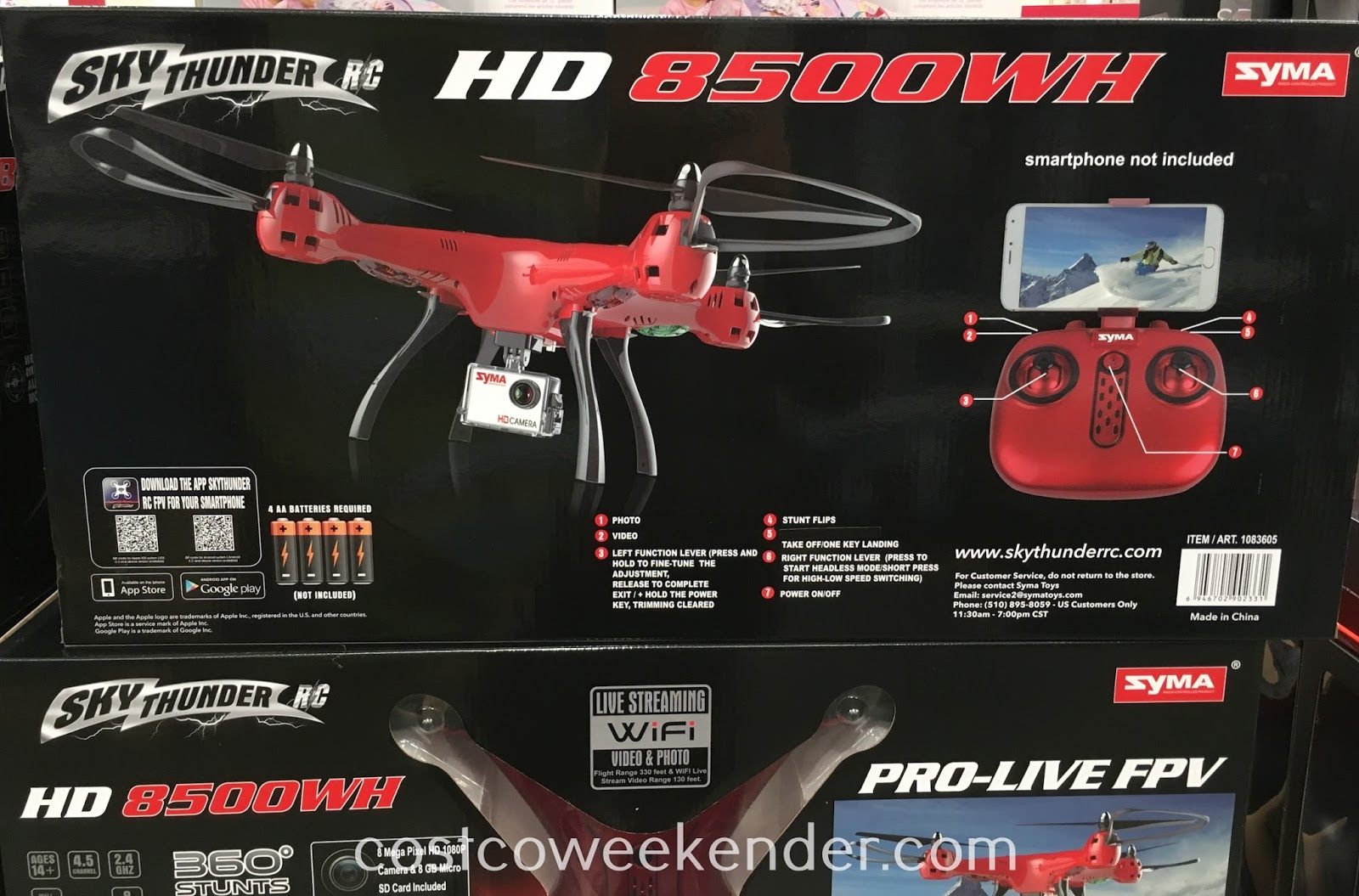 Costco 1083605 - Sky Thunder HD 8500WH Drone features live streaming hd camera with wifi