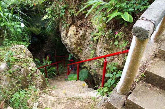 stairs leading down trail to a shrine