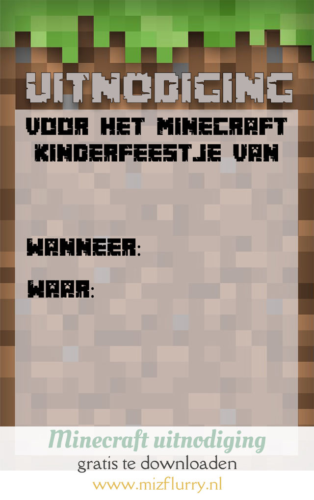 minecraft uitnodiging pinterest