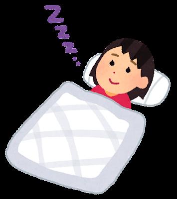 目を開けて寝る人のイラスト(女性)
