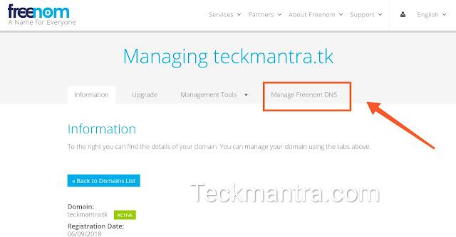 Setup freenom domain to blogger website