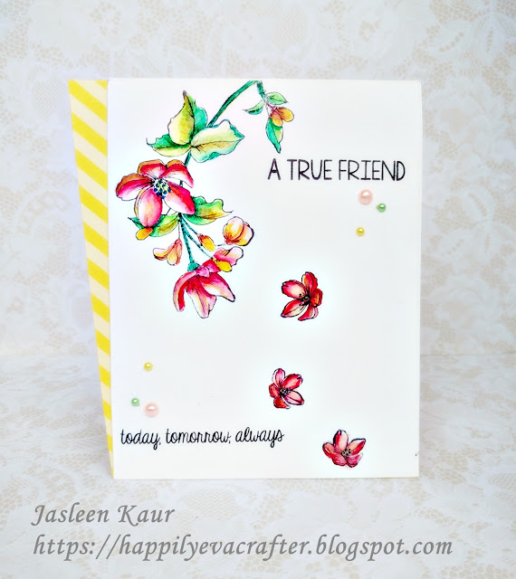 Friendship Day Card using Mudra Stamp-Dainty Blooms