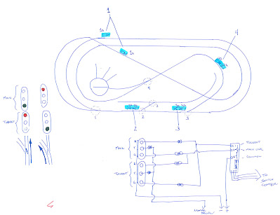 Sketch showing LED trackside signal locations and wiring