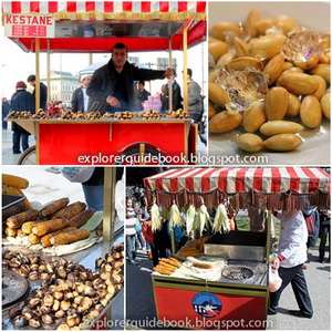 Makanan Turki Istambul pinggir jalan jagung Misir kestane iced almonds