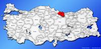 Ordu ilinin Türkiye haritasında gösterimi
