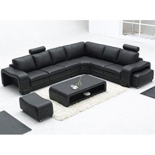 Tosh Furniture Savona Modern Black Leather Sectional Set