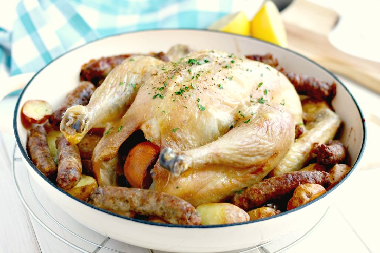 One Pan Organic Roast Chicken, Sausages & New Potatoes