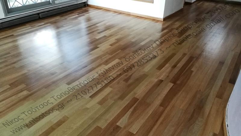 Ξύλινο πάτωμα Νιανγκόν με ματ οικολογικό βερνίκι