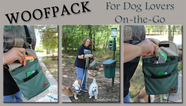 Collage of dog walking photos featuring the WoofPack accessory bag