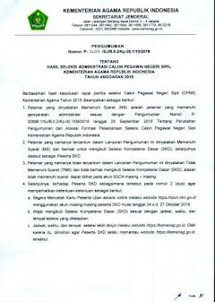 Download Hasil Seleksi Administrasi Kemenag CPNS tahun 2018