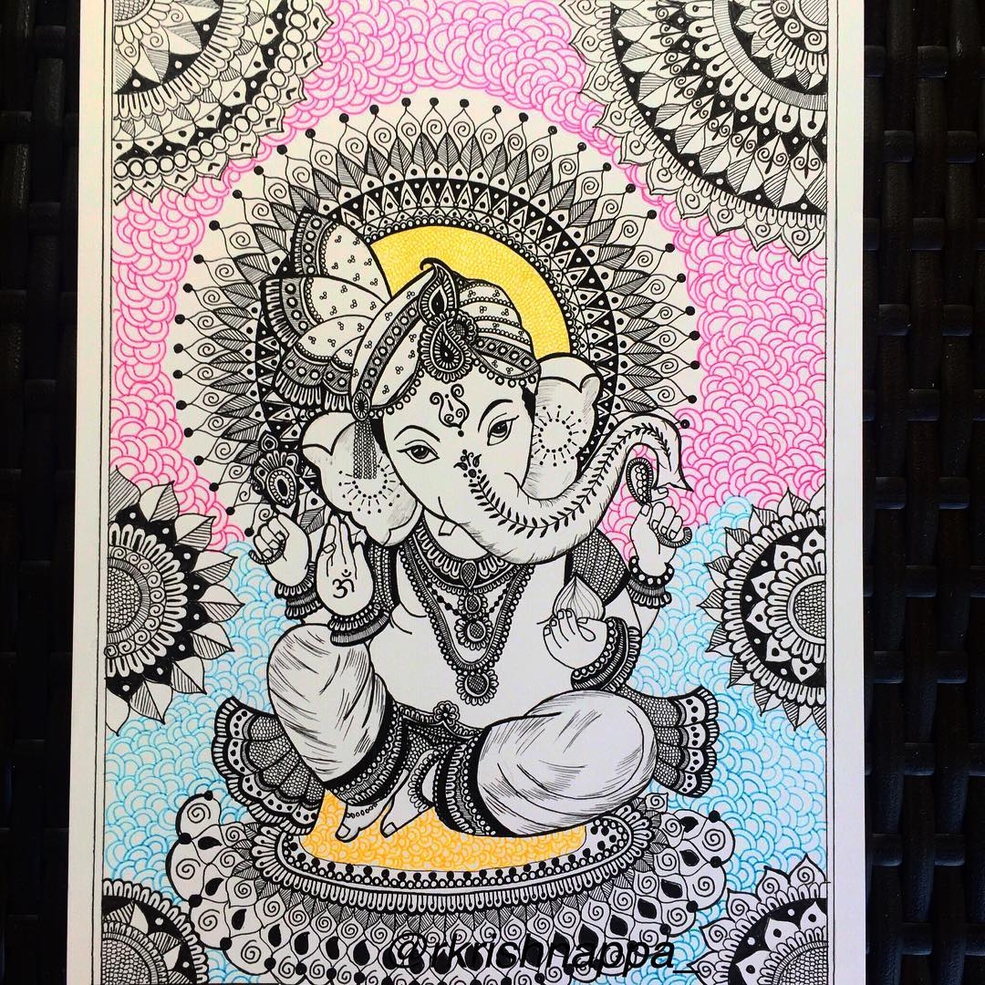 02-Ganesha-Rashmi-Krishnappa-Calm-and-Serenity-in-Balanced-Pen-drawings-www-designstack-co