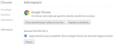 Come aggiornare google chrome all'ultima versione