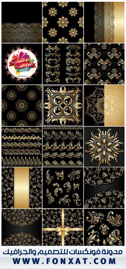 Gold Floral Ornaments Vector Black Background