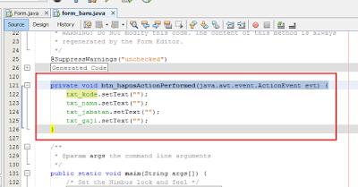 21 - Tutorial 4 Pemrograman Java Netbeans  – Disain Form Dengan Tombol Hapus Dan Tombol Keluar
