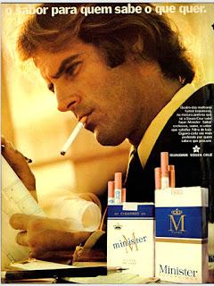propaganda cigarros Minister  - 1973, souza cruz anos 70, cigarros década de 70, Oswaldo Hernandez,