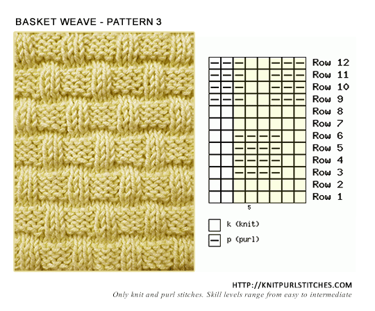 Basketweave Pattern 3 Knit Purl Stitches