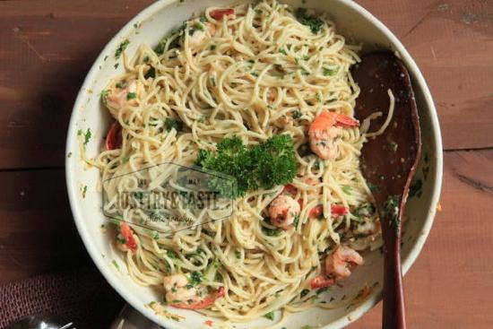 Resep Spicy Aglio e Olio dengan Udang