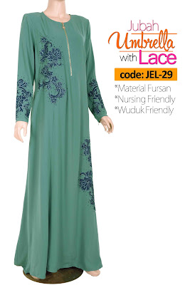 Jubah Umbrella Lace JEL-29 Sea Green Depan 2
