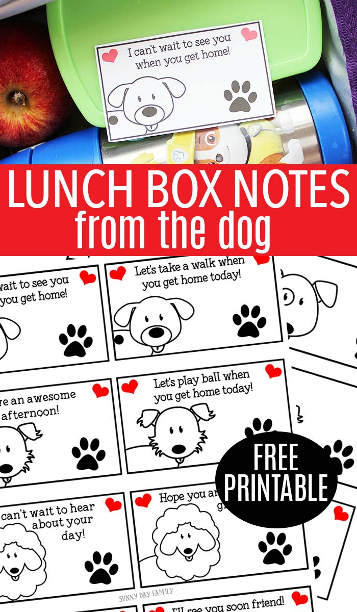 Kids will love getting a lunchbox note from their dog with these adorable free printables! Make lunch more fun with a surprise message from your pet. Includes pre-printed cards and blank cards for a custom message. So fun!