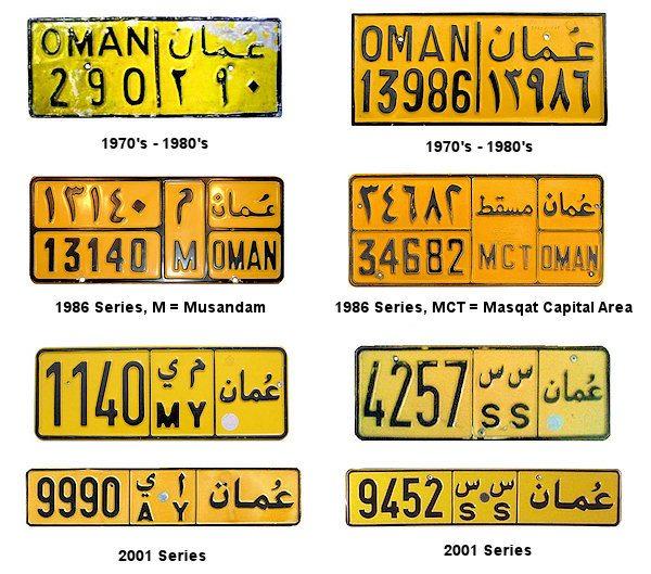 Kolory tablic rejestracyjnych w Omanie