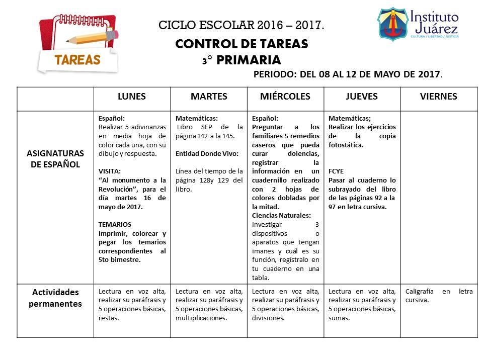 Instituto Juárez 3° Primaria: TAREAS DEL 08 AL 12 DE MAYO DE 2017