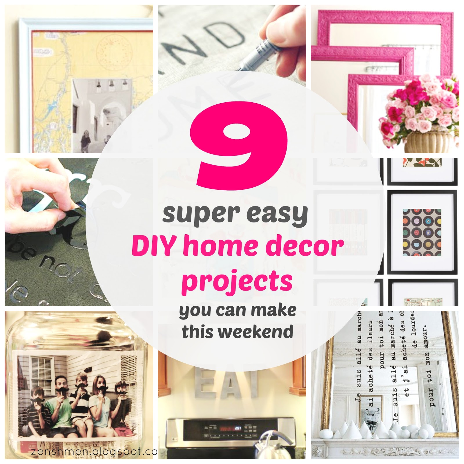 Zen shmen 9 super easy diy home decor projects you can make this weekend Diy home decor crafts pinterest