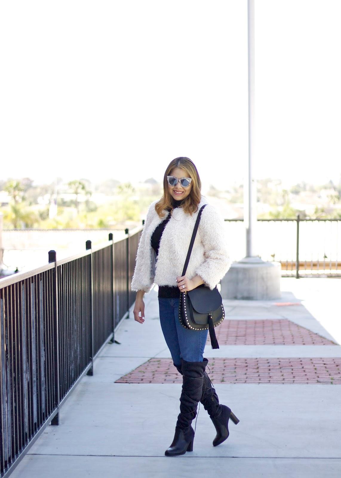 latina fashion blogger, cabi furry furry coat, cabi clothing jacket, cabi blogger