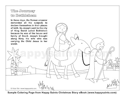 Happy Saints: Journey to Bethlehem Coloring Page