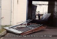 Inside the main gates, No.1 Division, Boggo Road Gaol, Brisbane, after the 1991 truck escape.
