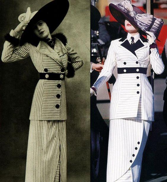 Vestido listrado de 1912 e ao lado imagem do figurino de Rose (Kate Winslet) em Titanic