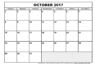 Free Printable Calendar October