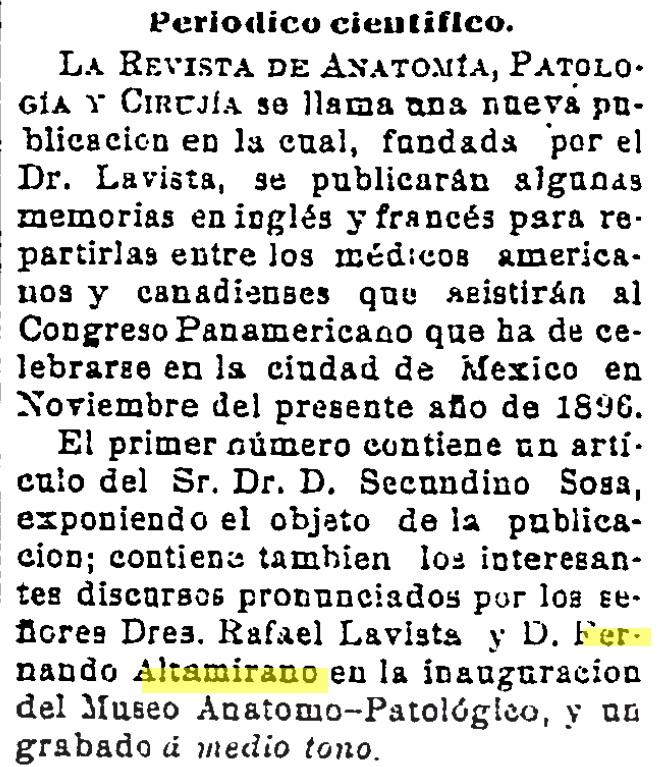 Dr. Fernando Altamirano: 18 de abril de 1896. Periódico científico ...