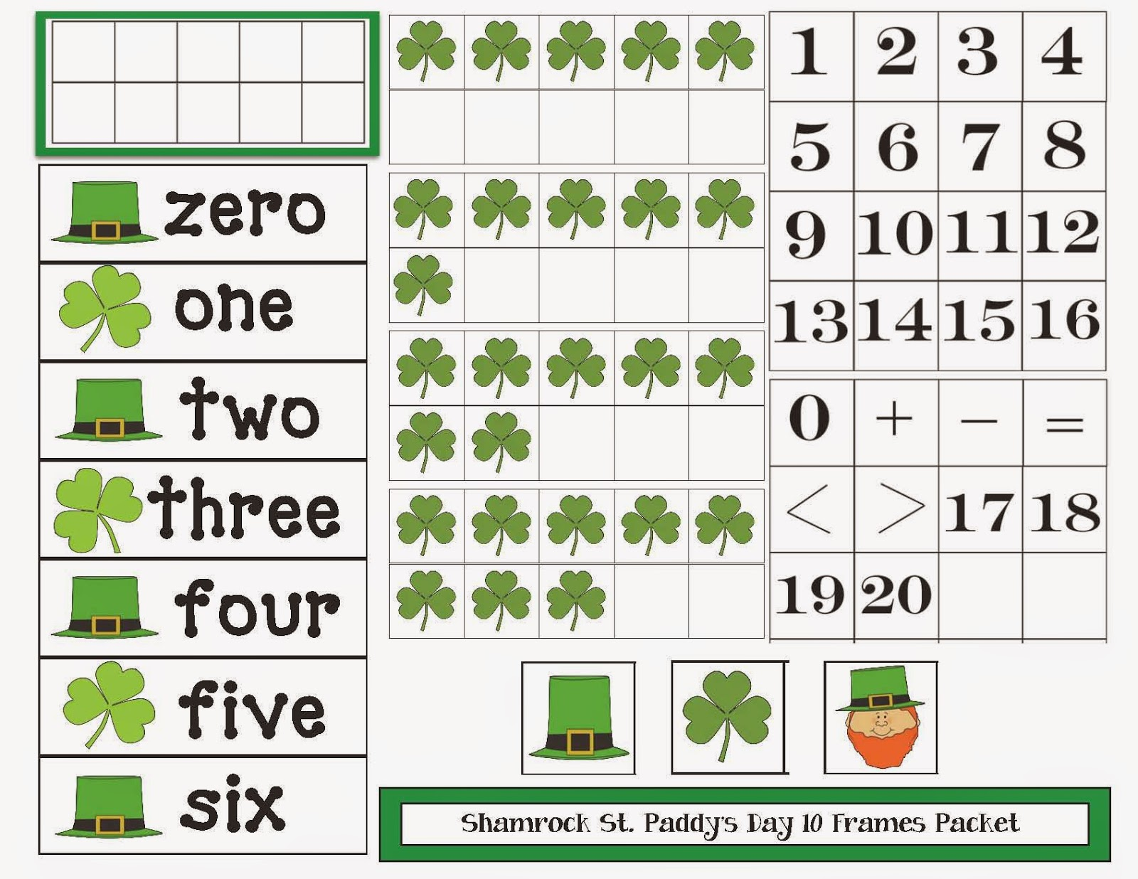 Classroom Freebies St Patrick S Day Themed 10 Frames Packet