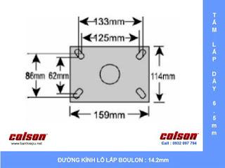 Kích thước Bánh xe đẩy caster giảm xóc Colson chịu tải 400kg | SB-8509-648BRK1 sử dụng ổ bi bạc đạn banhxedaycolson.com