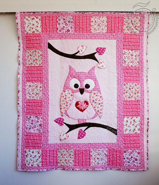 Owl qulit, girls patchwork blanket