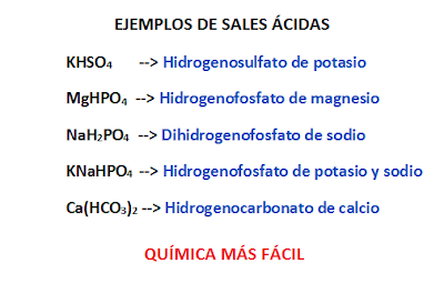 Ejemplos resueltos de formulación y nomenclatura de sales ácidas. Hidrogenosulfato de potasio, hidrogenosultato de magnesio, hidrogenofosfato de sodio, hidrogenofosfato de potasio y sodio, hidrogenocarbonato de calcio.