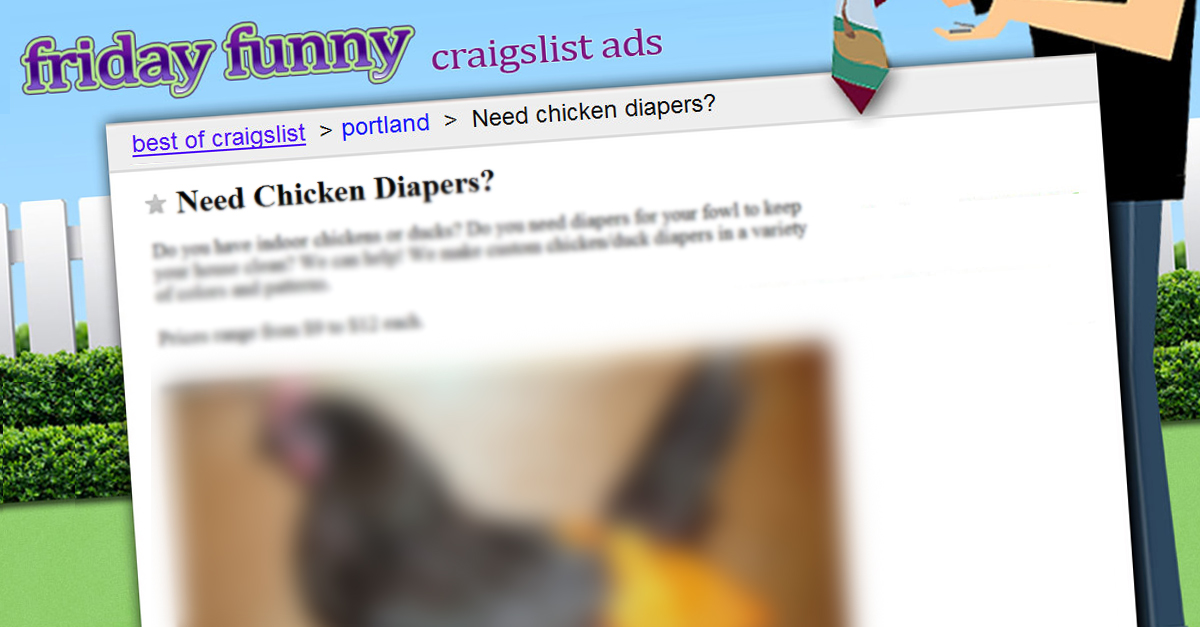 Need chicken diapers? - FUNNY CRAIGSLIST ADS