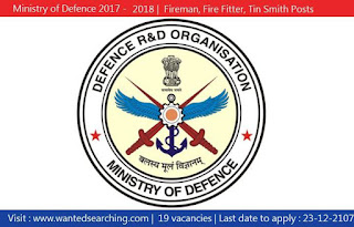 Ministry of Defence  Type 'B' Recruitment 2017 2018 , 19 Fireman, Fire Fitter, Tin Smith Posts
