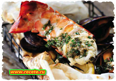 Steamed seafood parcels
