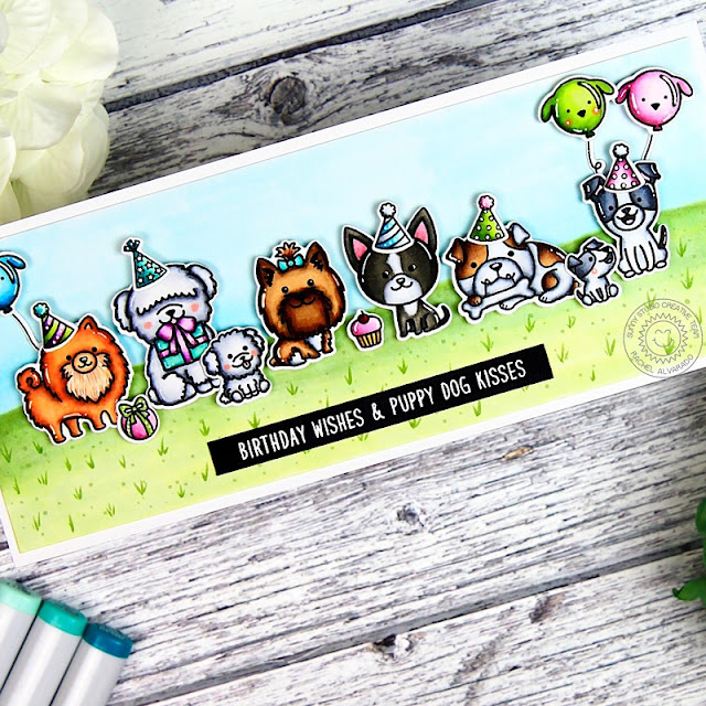 Sunny Studio Stamps: Puppy Dog Kisses Party Pups Puppy Themed Birthday Card by Rachel Alvarado