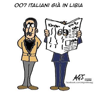 servizi segreti, 007, libia, missione di pace, vignetta satira