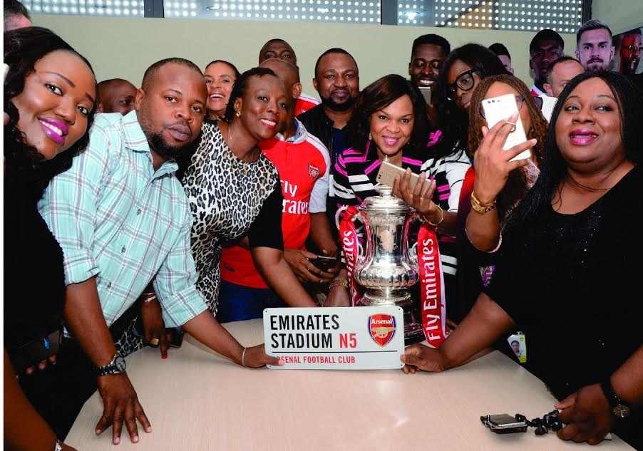 7 Arsenal Lands In Nigeria With FA Cup, Visits MTN Head Office In Lagos (Photos)